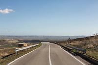 MAZZARINO, ITALY - 14 NOVEMBER 2014: The National Road 626 (SS626) towards Caltanissetta, in Mazzarino, Italy, on November 14th 2014.