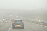 © Licensed to London News Pictures. 26/12/2013. Oxfordshire, UK Foggy driving conditions on the M40 in Oxfordshire today. Photo credit : Stephen Simpson/LNP