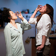 """April 6, 2011 - New York, NY : Mara Lileas, left, and Anna Stromberg perform as Contessa Springs and Jackie Goldstein in The Amoralists' world premiere of Derek Ahonen's """"Bring Us the Head of Your Daughter"""" at Performance Space 122 on Wednesday evening.<br /> <br /> CREDIT: Karsten Moran for the New York Times"""