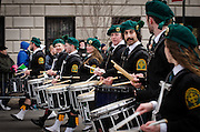March 17, 2015 - New York, NY. Drummers keep the beat during New York City's annual St. Patrick's Day parade on 5th  Avenue. 04/17/2013 Photograph by Kevin R. Convey/NYCity Photo Wire