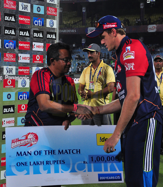 Delhi Daredevils player Morne Morkel get the man of the match during match 11 of the the Indian Premier League ( IPL) 2012  between The Delhi Daredevils and the Chennai Superkings held at the Feroz Shah Kotla, Delhi on the 10th April 2012..Photo by Pankaj Nangia/IPL/SPORTZPICS