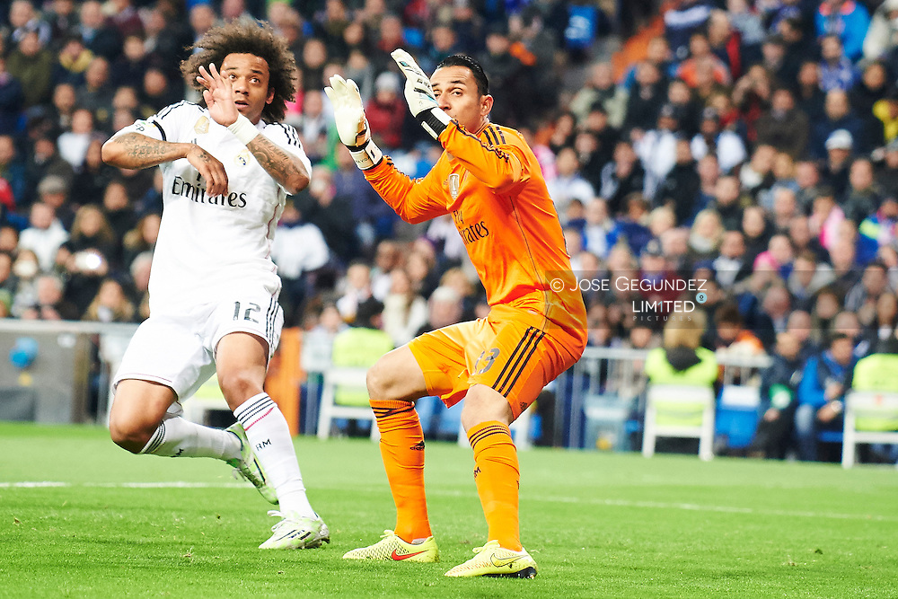 Marcelo (Real Madrid F.C.) and Keylor Navas (Real Madrid F.C.) action during Real Madrid v Levante CF, La Liga football match at Santiago Bernabeu on March 15, 2015 in Madrid