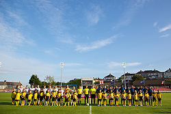 LLANELLI, WALES - Monday, August 19, 2013: England and France players line-up before the Group A match of the UEFA Women's Under-19 Championship Wales 2013 tournament at Stebonheath Park. (Pic by David Rawcliffe/Propaganda)