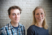 Nederland, Amsterdam, 07-03-2014<br /> In Amsterdam presenteert het Human Power Team Delft en Amsterdam (HPT), dat bestaat uit studenten van de TU Delft en de VU Amsterdam, de rijders waarmee ze zowel het sprintrecord als uurrecord willen breken. In 2013 reed Sebastiaan Bowier een nieuw sprintrecord in de VeloX3 van het team: 133,78 km/h. Dit jaar hoopt het team dat record aan te scherpen en het uurrecord te breken dat staat op ruim 90 km/h. Voor het eerst willen ze ook het record bij de vrouwen in handen krijgen. Die staan beide op naam van de Francaise Barbara Buatois. Links Rik Houwers, rechts Irene Tesink.<br /> <br /> In Amsterdam the Human Power Team Delft and Amsterdam, consisting of students of the TU Delft and the VU Amsterdam, presents the riders for the new attempts to set new world records on the bike. The current speed record is set in 2013 byj the team with Sebastiaan Bowier: 133,78 km/h. This year they also want to set new records for women. <br /> Foto: Bas de Meijer / Hollandse Hoogte