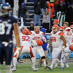 TOM KELLY IV &mdash; DAILY TIMES<br /> SHS players celebrate the late missed field goal by Villanova during the Sam Houston State University at Villanova University NCAA FCS Division 1 - AA quarterfinal game at Villanova Stadium.