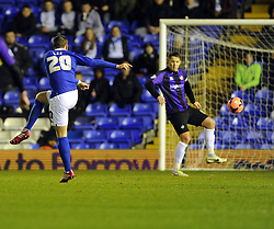 Birmingham City's Oliver Lee shoots - Photo mandatory by-line: Joe Meredith/JMP - Tel: Mobile: 07966 386802 14/01/2014 - SPORT - FOOTBALL - St Andrew's Stadium - Birmingham - Birmingham City v Bristol Rovers - FA Cup - Third Round