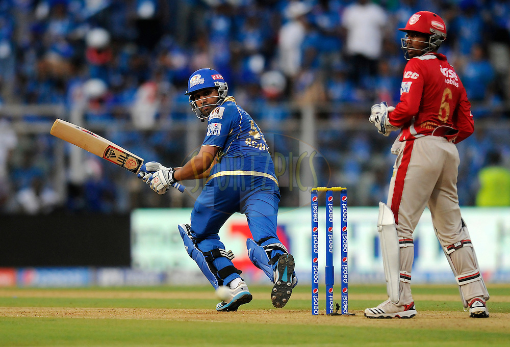 Rohit Sharma captain of the Mumbai Indians bats during match 22 of the Pepsi Indian Premier League Season 2014 between the Mumbai Indians and the Kings XI Punjab held at the Wankhede Cricket Stadium, Mumbai, India on the 3rd May  2014<br /> <br /> Photo by Pal Pillai / IPL / SPORTZPICS<br /> <br /> <br /> <br /> Image use subject to terms and conditions which can be found here:  http://sportzpics.photoshelter.com/gallery/Pepsi-IPL-Image-terms-and-conditions/G00004VW1IVJ.gB0/C0000TScjhBM6ikg