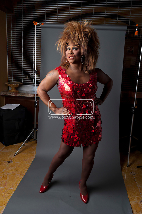 24th February 2011. Las Vegas, Nevada.  Celebrity Impersonators from around the globe were in Las Vegas for the 20th Annual Reel Awards Show. Pictured is Larry Edwards as Tina Turner.  Photo © John Chapple / www.johnchapple.com