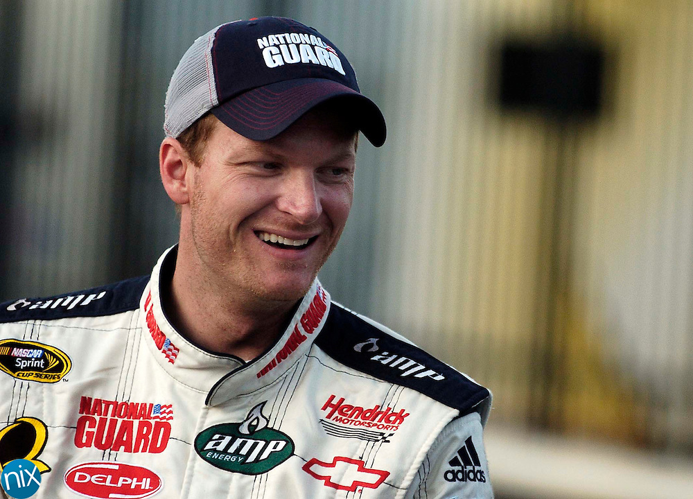 Dale Earnhardt Jr. after he qualified for the Coca-Cola 600 Thursday night at Lowe's Motor Speedway. (photo by James Nix)