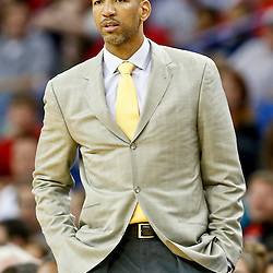Nov 16, 2013; New Orleans, LA, USA; New Orleans Pelicans head coach Monty Williams against the Philadelphia 76ers during the second half of a game at New Orleans Arena. The Pelicans defeated the 76ers 135-98. Mandatory Credit: Derick E. Hingle-USA TODAY Sports
