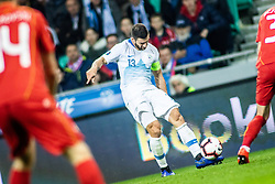 Bojan Jokić of Slovenia vs Darko Velkoski of Macedonia during football match between National teams of Slovenia and North Macedonia in Group G of UEFA Euro 2020 qualifications, on March 24, 2019 in SRC Stozice, Ljubljana, Slovenia.  Photo by Matic Ritonja / Sportida