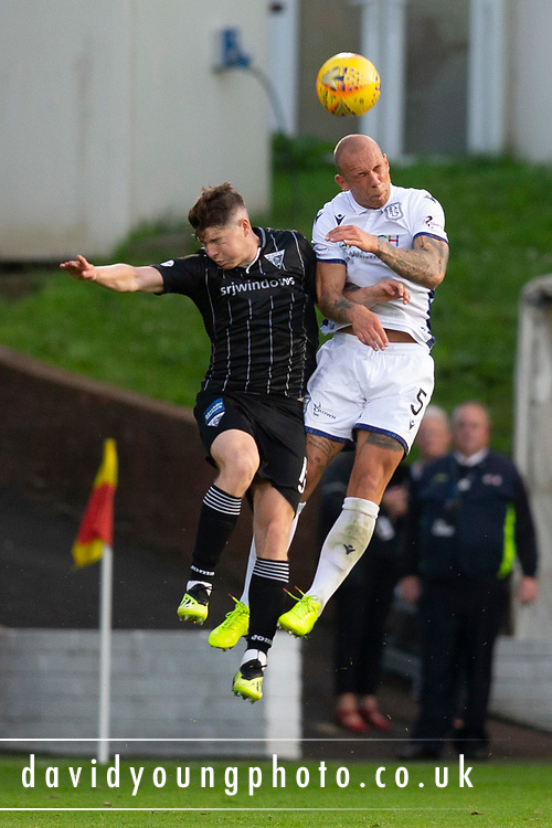 2nd Aug 2019, East End Park, Dunfermline, Fife, Scotland, Scottish Championship football, Dunfermline Athletic versus Dundee;  Jordon Forster of Dundee beats Kevin Nisbet of Dunfermline Athletic in the air