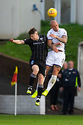 2nd Aug 2019, East End Park, Dunfermline, Fife, Scotland, Scottish Championship football, Dunfermline Athletic versus Dundee;  Jordon Forster of Dundee beats Kevin Nisbet of Dunfermline Athletic in the air