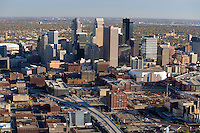 Aerial view of Minneapolis, Minnesota in October '07.  Construction site of the new Twins stadium is evident.