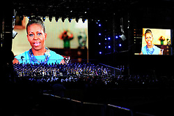 A message from Michelle Obama is played  - Photo mandatory by-line: Joe Meredith/JMP - Mobile: 07966 386802 - 11/09/14 - The Invictus Opening Ceremony - London - Queen Elizabeth Olympic Park