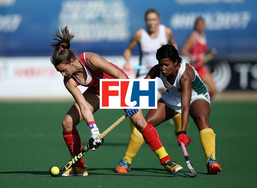 JOHANNESBURG, SOUTH AFRICA - JULY 14: Camila Caram of Chile and Sulette Damons of South Africa battle for possession  during day 4 of the FIH Hockey World League Semi Finals Pool B match between Chile and South Africa at Wits University on July 14, 2017 in Johannesburg, South Africa. (Photo by Jan Kruger/Getty Images for FIH)
