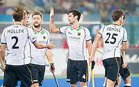 RAIPUR (India) - Lukas Windfeder (Dui.) has scored and celebrates  with Mathias Müller (Dui) , Martin Häner (Dui.) Jonas Gomoll (Dui.)     Match for place 7/8 Hockey World League Final  men . GERMANY v CANADA   © WSP / Koen Suyk