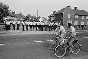Police seal off Armthorpe, 1984 Miners Strike. August 1984...&copy; Martin Jenkinson<br /> email martin@pressphotos.co.uk. Copyright Designs &amp; Patents Act 1988, moral rights asserted credit required. No part of this photo to be stored, reproduced, manipulated or transmitted to third parties by any means without prior written permission.