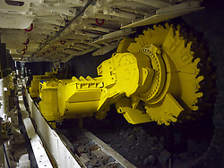 Coal cutting machine inside mine at the Deutsches Bergbau-Museum or German Mining Museum in Bochum Germany