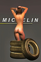 Michelin Tires have been driving Americans and others for the past several generations. Their name is instantly recognizable. It is one of the most enduring brands in the history of modern advertising. This remarkable fine art example combines that brand with a beguiling nude woman. There are tires that go up to her knees, and the Michelin logo is prominently displayed, as well. This piece can be ideal for a wide number of spaces, and it is a perfect gift for anyone who appreciates the concept of pop art. This piece expresses a number of interesting things to the viewer. .<br /> <br /> BUY THIS PRINT AT<br /> <br /> FINE ART AMERICA<br /> ENGLISH<br /> https://janke.pixels.com/featured/michelin-jan-keteleer.html<br /> <br /> WADM / OH MY PRINTS<br /> DUTCH / FRENCH / GERMAN<br /> https://www.werkaandemuur.nl/nl/shopwerk/Pop-Art---Michelin/438197/134