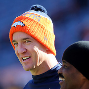 Peyton Manning, Denver Broncos, warming up before the Denver Broncos vs Pittsburgh Steelers, NFL Divisional Round match at Authority Field at Mile High, Denver, Colorado.  17th January 2016. Photo Tim Clayton