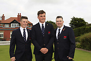 Conor Purcell (GB&I), James Sugrue (GB&I) and Caolan Rafferty (GB&I) during the Official Opening of the Walker Cup, Royal Liverpool Golf CLub, Hoylake, Cheshire, England. 06/09/2019.<br /> Picture Thos Caffrey / Golffile.ie<br /> <br /> All photo usage must carry mandatory copyright credit (© Golffile | Thos Caffrey)