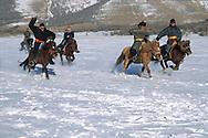 Mongolia. horse race in the snow on Huis nuur frozen lake, in height lakes area  ovokangai     /   course de chevaux dans la neige sur le lac Huis nuur gelé, region des huit lacs  ovokangai  Mongolie  /            P119841