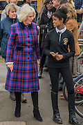 The Duchess is shown round the site by Natashia Williams, 19, who is now at university but is still a member - The Duchess of Cornwall, President, Ebony Horse Club, visits the charity's Brixton riding centre. The centre is celebrating its 21st birthday and its 6th year on this site. London 16 Feb 2017 .