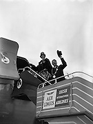 """06/12/1960<br /> 12/06/1960<br /> 06 December 1960<br /> Inaugural flight of new Irish Boeing Jetliner """"Padraig"""" to New York. Image shows the Lord Mayor of Dublin, Maurice E. Dockrell, T.D. and the Lady Mayoress, Mrs Dockrell boarding the aircraft at Dublin Airport."""