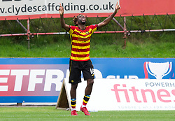 Partick Thistle Andrea Mbuyi-Mutombo celebrates scoring his side's first goal of the game during the Betfed Cup Second Round match at the Energy Check Stadium at Firhill, Glasgow.