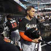 NEW YORK, NEW YORK - July 05: Giancarlo Stanton #27 of the Miami Marlins leaves the dugout to bat during the Miami Marlins Vs New York Mets regular season MLB game at Citi Field on July 05, 2016 in New York City. (Photo by Tim Clayton/Corbis via Getty Images)