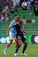 MELBOURNE, VIC - JANUARY 22: Western Sydney Wanderers midfielder Roly Bonevacia (28) competes for the header at the Hyundai A-League Round 15 soccer match between Melbourne City FC and Western Sydney Wanderers at AAMI Park in VIC, Australia 22 January 2019. Image by (Speed Media/Icon Sportswire)
