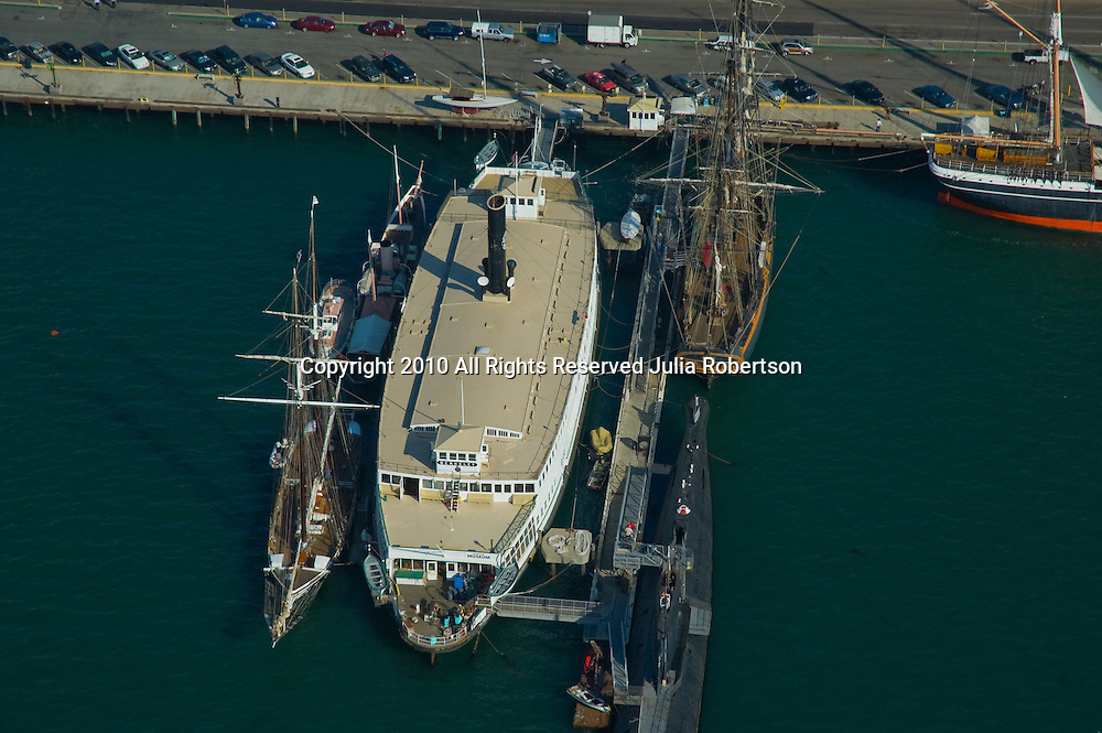 Aerial views of San Diego's Waterfront District, Maritime Museum