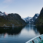 Three weeks aboard the Kong Harald. Hurtigruten, the Coastal Express. Navigation inside the Trollfjord. Lofotens.