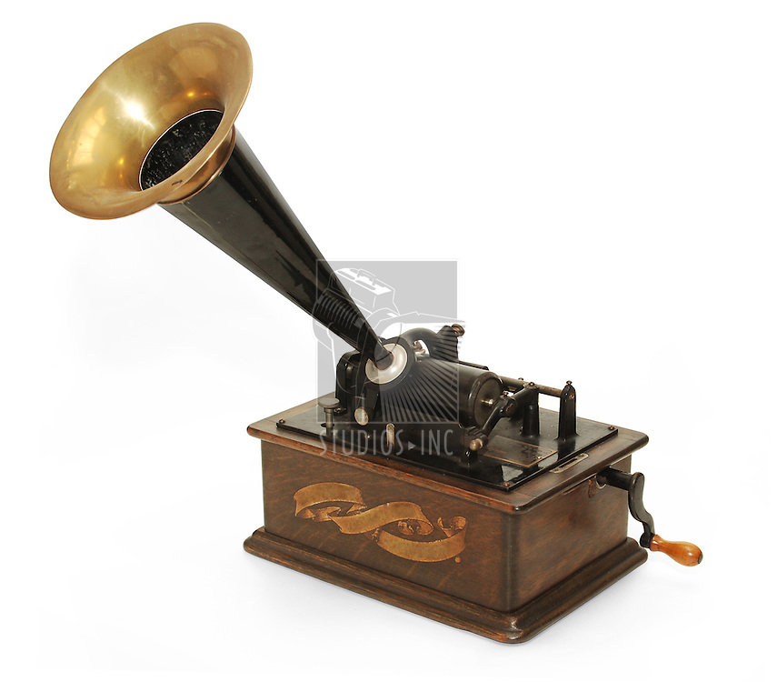 Edison gramophone on white background