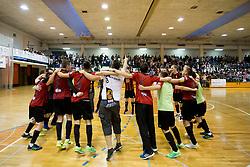 Players of FC Dobovec celebrate after futsal match between FC Litija and FC Dobovec Pivovarna Kozel in Final of 1.SFL 2017/18, on May 18, 2018 in Sports hall Litija, Litija, Slovenia. Photo by Urban Urbanc / Sportida