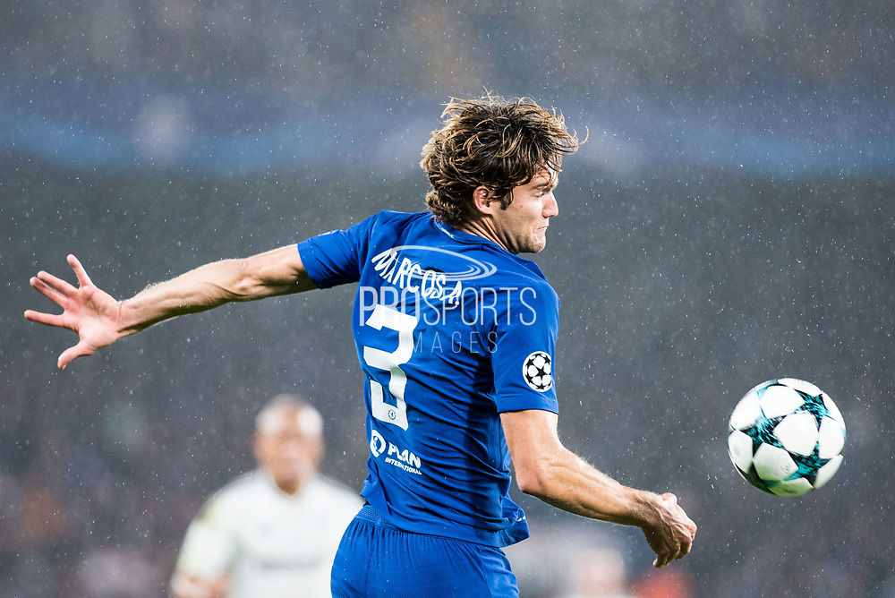 Chelsea (3) Marcos Alonso during the Champions League match between Chelsea and FK QARABAG at Stamford Bridge, London, England on 12 September 2017. Photo by Sebastian Frej.