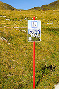 A buggy trail or easy stroller trail on the Konigsleiten mountain top. Zillertal, Tyrol, Austria