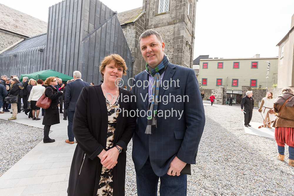 Repro Free no charge for use<br /> <br /> 4-4-17<br /> <br /> Official opening of Kilkenny&rsquo;s Medieval Mile Museum<br />  <br /> Today, Tuesday April 4th  at 12.15pm, Patrick O Donovan, Minister for Tourism and Sport officially opened Kilkenny&rsquo;s Medieval Mile Museum by cutting a ribbon at the door of the former St Mary&rsquo;s Church (St Mary&rsquo;s Lane, Kilkenny). The Medieval Mile Museum, commissioned by Kilkenny County Council, represents an investment of &euro;6.5 million, with significant assistance from Failte Ireland&rsquo;s Capital Programme and additional funding from Kilkenny Civic Trust. <br /> <br /> Pictured at the opening is Colette Byrne Chief Executive Kilkenny County Council and John Purcell.<br />  <br /> <br /> Picture Dylan Vaughan.