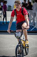 Men Junior #209 (HOJSGAARD Simon Juul) DEN arriving on race day at the 2018 UCI BMX World Championships in Baku, Azerbaijan.