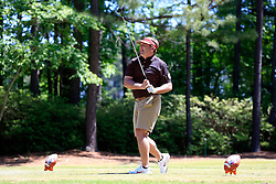 Kirby Smart tees off during the Chick-fil-A Peach Bowl Challenge at the Oconee Golf Course at Reynolds Plantation, Sunday, May 1, 2018, in Greensboro, Georgia. (Paul Abell via Abell Images for Chick-fil-A Peach Bowl Challenge)