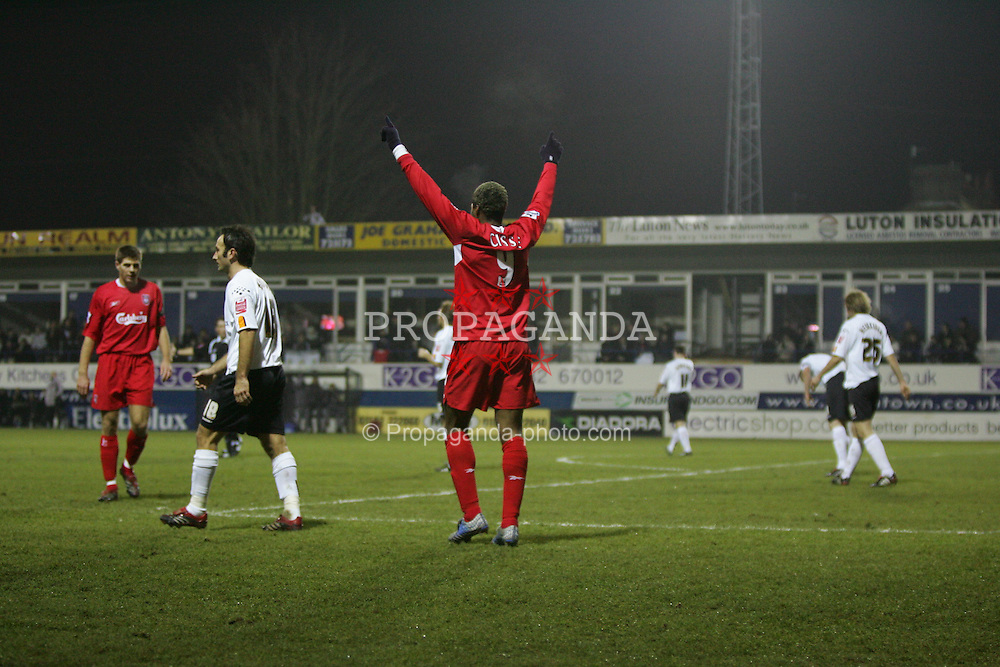 LUTON, ENGLAND - SATURDAY, JANUARY 7th, 2006: Liverpool's Steven Gerrard celebrates scoring the opening goal against Luton Town with his team-mate Djibril Cisse  during the FA Cup 3rd Round match at Kenilworth Road. (Pic by David Rawcliffe/Propaganda)