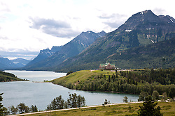 Prince of Wales Hotel sits in majesty on a point of Upper Waterton Lake, Waterton-Glacier International Peace Park World Heritage Site, Alberta, Canada.