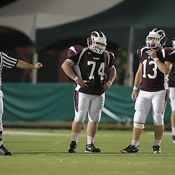 31 October, 2008: St. Thomas Aquinas DT/OT Brandon Black  (#74) St. Thomas Aquinas DT/RB Trey Decristina  (#13)  The St. Thomas Falcons recorded their first shut out of the season with a 41-0 shutout of the Southern Lab Kittens at Strawberry Stadium in Hammond, LA.