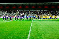 Players prior to the football match between FC Luka Koper and NK Maribor in 12th Round of Prva liga Telekom Slovenije 2013/14 on September 28, 2013 in Stadium Bonifika, Koper, Slovenia. (Photo by Vid Ponikvar / Sportida.com)
