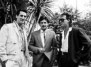 Marty Whelan (centre) with Spandau Ballet members Tony Hadley and Martin Kemp, conducting an interview for Video File for RTÉ.<br />