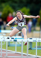 21 Aug 2016:   Aoibhe Deely, from Galway, on her way to winning the Girls U14 Hurdles final.  2016 Community Games National Festival 2016.  Athlone Institute of Technology, Athlone, Co. Westmeath. Picture: Caroline Quinn