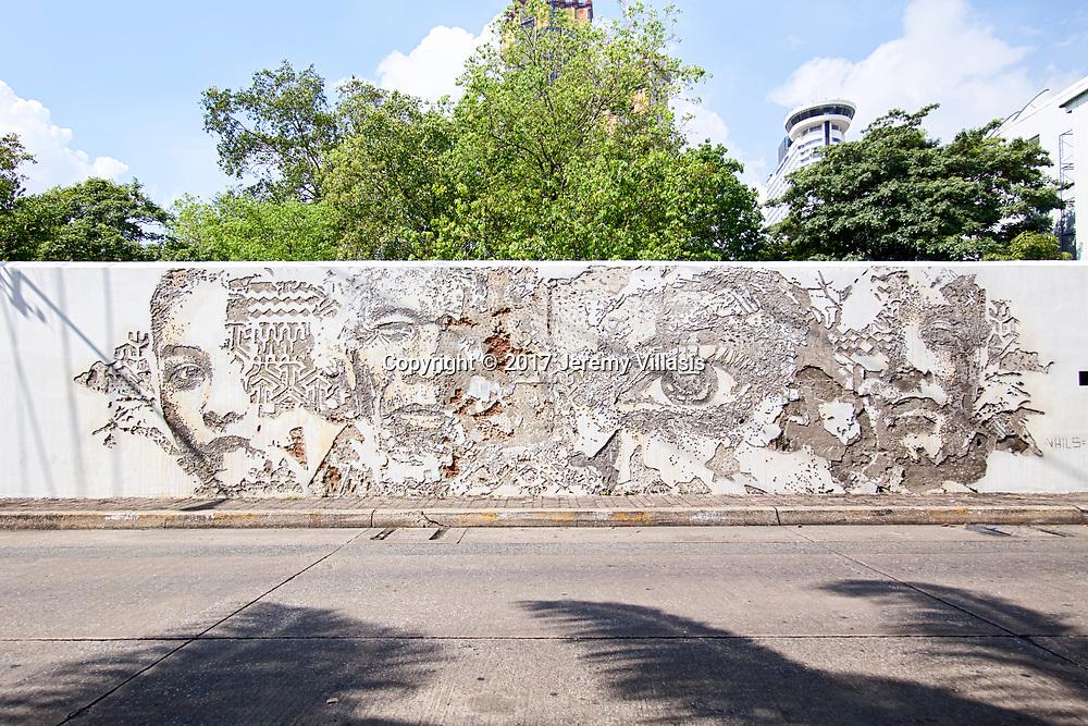 VHILS (Portugal) along the walls of the Portuguese Embassy in Bangkok. Charoen Krung 30