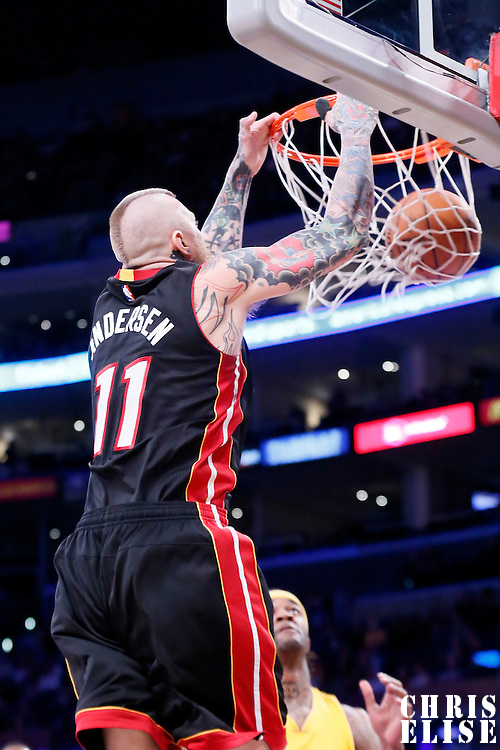 13 January 2014: Miami Heat forward Chris Andersen (11) dunks the ball during the Miami Heat 78-75 victory over the Los Angeles Lakers, at the Staples Center, Los Angeles, California, USA.