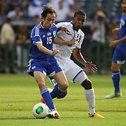 Benayoun Yossi Shai, Israel, (left), is challenged by Brayan Beckeles, Honduras, during the Israel V Honduras  International Friendly football match at Citi Field, Queens, New York, USA. 2nd June 2013. Photo Tim Clayton